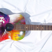 """Jimi"", airbrush and handpainted on classic guitar"