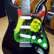 """Bob guitar""airbrush and handpaint on electric pickguard"