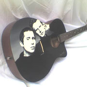 """S&G guitar"",  Simon and Garfunkel handpainted on acoustic guitar, USA"