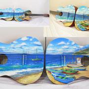 """""""Cannitello"""" coppia di chitarre classiche dipinte, 2013"""