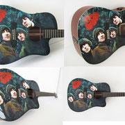 """Davide Ricchetti """" Beatles guitar - Rubber Soul """" aerografia e dipinto mano libera su chitarra Martin, 2013."""