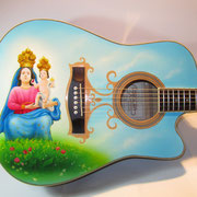 """Madonna di Polsi"", ""Liga"" , airbrush and handpaint on acoustic guitar"