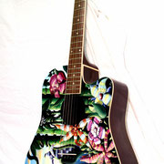 """Isola"", airbrush and handpaint on acoustic guitar"
