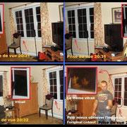 Ici, nous avons placé quatre photos prises à des angles similaires et à des temps différents. Observez le vitrail ! On y voit une apparition dans la prise de vue 20:33, mais sur les autres photos, aucune.