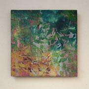がらくたばこ 2011 パネルに綿布、木版画、雁皮紙、アクリル、塗料 20×20cm 個人蔵