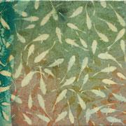 ほとりのふたり 2011 パネルに綿布、木版画、雁皮紙、アクリル、塗料 20×20cm 個人蔵