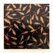膿みのつぶ 2012 綿布に木版画コラージュ、アクリル、メディウムなど 18.5×18.5cm