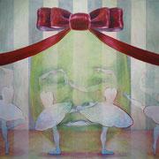 弔いダンス 2011 綿布にアクリル、木版画 145.5×145.5cm