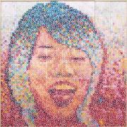 群れて ひとつ、 重なって ひとり 2006 木版画 241×241cm