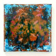 なみだのぽいすて 2012 綿布に木版画コラージュ、アクリル、メディウムなど 18.5×18.5cm