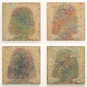 ともかがみ 2012 パネルにアクリル、木版画コラージュなど 30×30cm