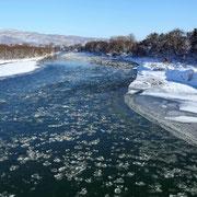 深川市 砕氷流れる冬の石狩川