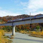 秋の紅葉山を走るJR石勝線