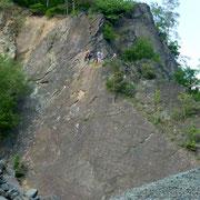 Sonnenplatte im Klettergebiet Steinicht