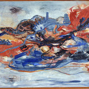 Titel Nr.1: Fliegender Teppich Entstehungsjahr: 2005 Breite: 140 cm, Höhe: 90 cm Acryl, Sand mit Steinen auf Leinen