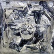 Titel Nr.3: Latent Entstehungsjahr: 2002 Breite: 100 cm, Höhe: 70 cm Acryl, Gaze auf Leinen. Hinter Glas, mit Passepartout
