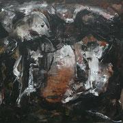 Titel Nr.4: Geborgen - Verborgen Entstehungsjahr: 2002 Breite: 70 cm, Höhe: 100 cm Acryl auf Papier. Hinter Glas, mit Passepartout