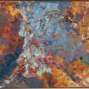 Titel Nr.2: Rote Linsen Entstehungsjahr: 1994 Breite: 95 cm, Höhe: 70 cm Acryl, rote Linsen, Sand, Kunstharz auf Leinen