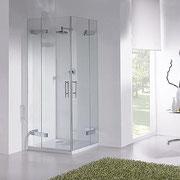 ENI A81: mampara de ducha angular con dos hojas abatibles y dos hojas fijas