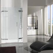 ENI A84: mampara de ducha angular con una hoja abatible y dos hojas fijas