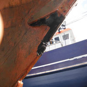 A mooring line had nearly torn off the bobstay attachment