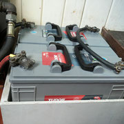 starter batteries, situated in front of chart table