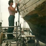 Sanding the hull.