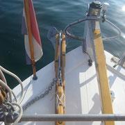 tiller, stern anchor, ensign