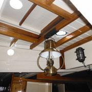 sliding hatch (emergency escape), oil lamp, electric light