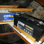 domestic batteries, situated under bunks aft cabin