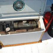 cooling water expansion tank, diesel daytank under and shore power socket (situated forward of aft cabin)