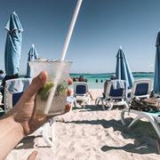 Das Getränkepaket ist auch auf der Insel benutzbar
