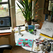Studio Set-Up 2013. Pencil sketch & painting in progress