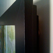 Hand built Hemlock & Poplar frame by Amen Fisher. Black matte enamel painted surface, modern design aesthetic