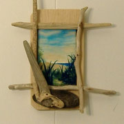 "Beach Path, (sold) 3"" x 5"", Driftwood Frame"