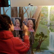 Maria painting a portrait, Dec 2012