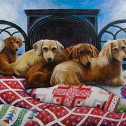 "The Girls, 16"" x 20"", 4 Dachshunds & 4 quilts, 2011"
