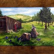 """Lois' Farm, 12"""" x 36"""", 2010"""