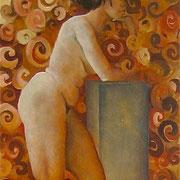 """Swirling Klimt, (sold) 14"""" x 8"""", Oil on wood"""