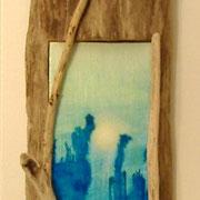 "Under Sea Glow, 12"" x 6"" Framed in Driftwood"