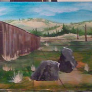 Now the rocks appeared, the background is developing and the left side tree grew bigger