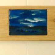 "Storytelling, (sold) 3"" x 5"", Cedar board frame"