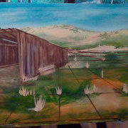 Then I added perspective and the old wooden barn with it's neighboring tree