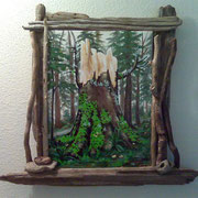 "Love Perpetual, (sold) 16"" x 12"", Framed in Driftwood, 2011"