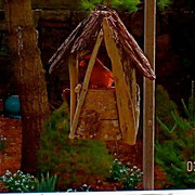 A Cardinal who we hear is getting quite chubby from eating seeds every day in this Given Back Seed Feeder