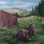 Irises have bloomed in the foreground, a water pump appeared at the barn and 3 more deer
