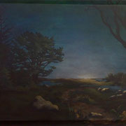 "Full Moon Rising, 22"" x 34"" on canvas, 2010"