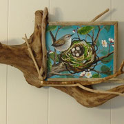 Driftwood frame nest for Glimpse of Spring, 2011