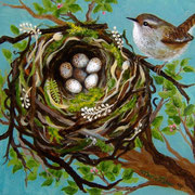 "Wren's Nest, 8"" x 10"",  This piece was stolen from the client, then discovered 2 years later & sent in the mail back to the original client!"