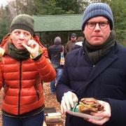 Beim Wild-Burger essen. Harzer Tanne